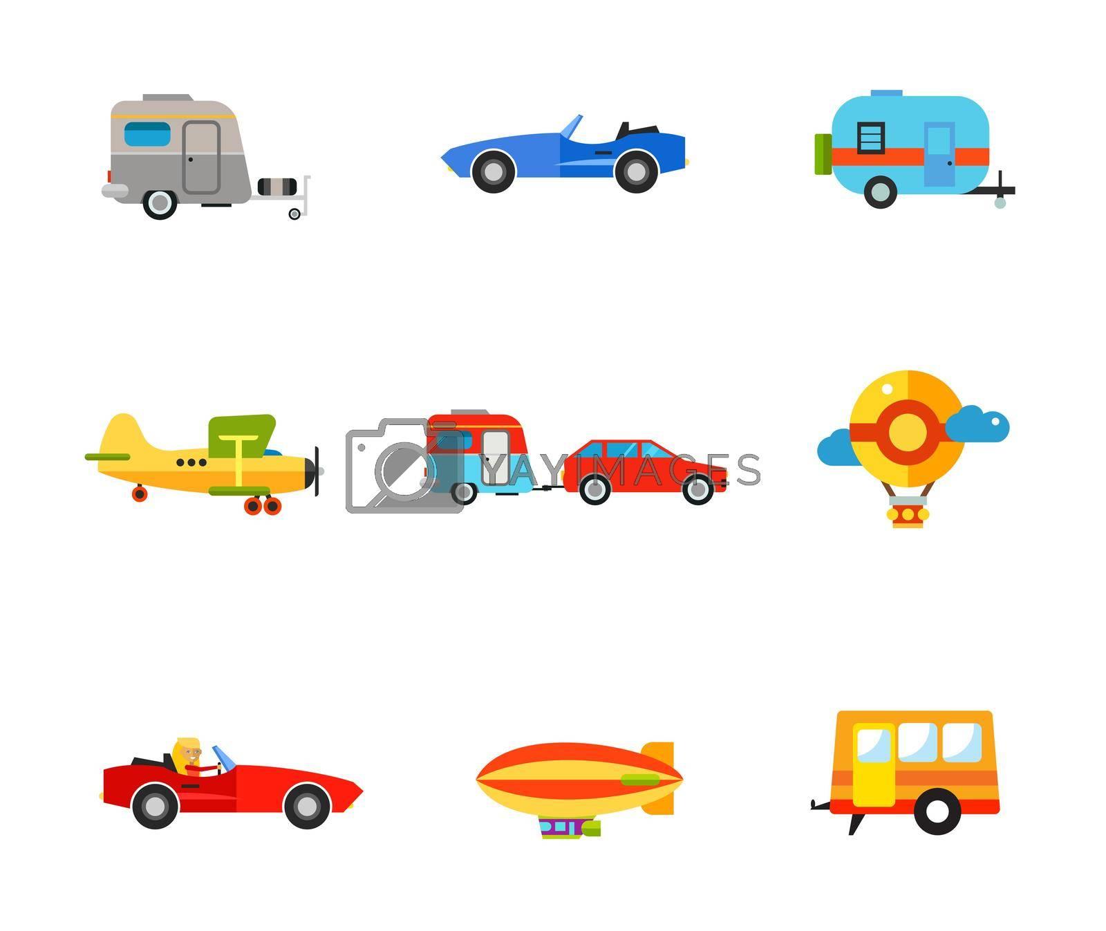 Transportation icon set. Caravan Cabriolet Biplane Caravan Travel Car Air Balloon Woman in Cabriolet Air Ship Trailer