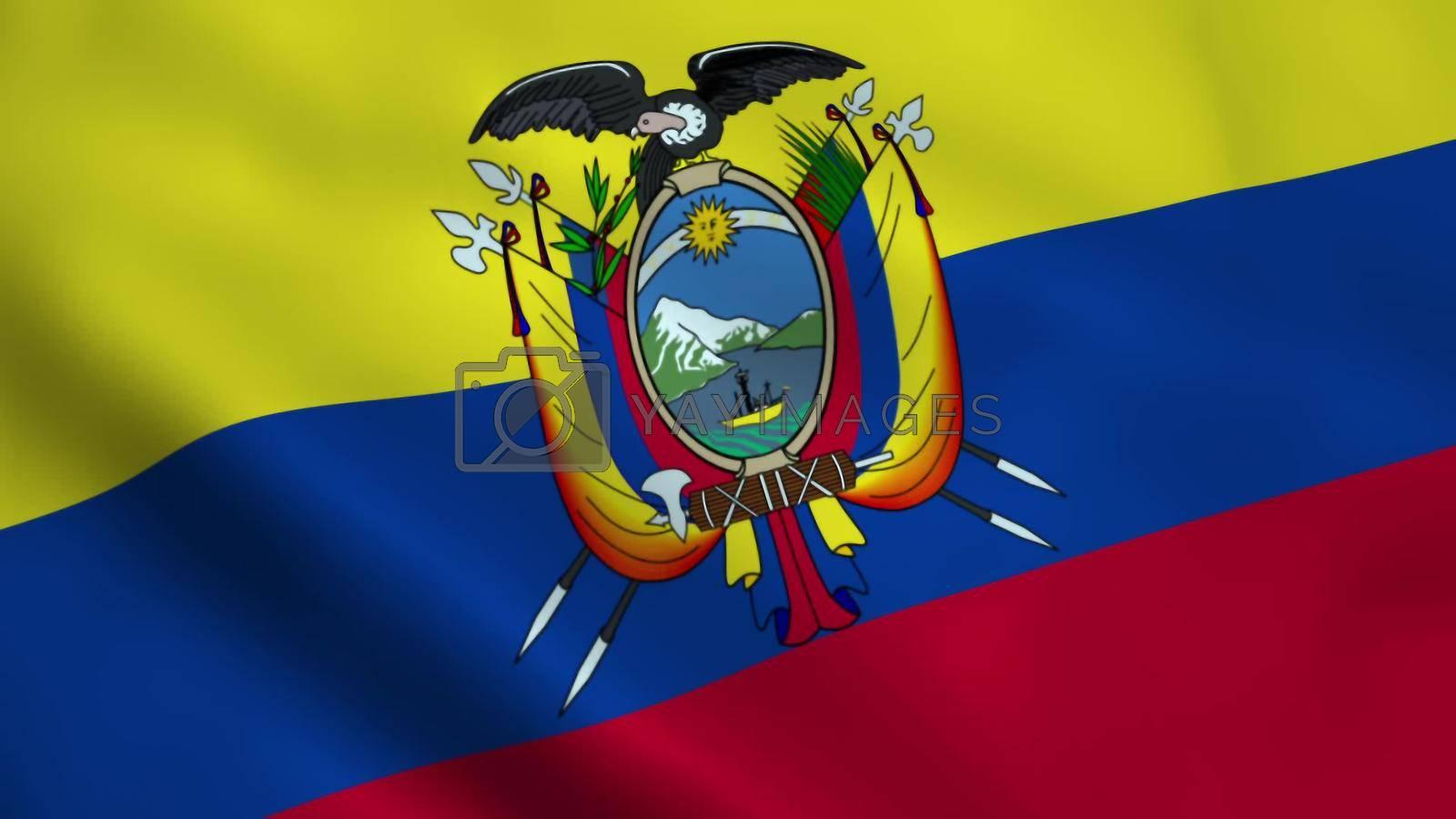 Realistic Ecuador flag waving in the wind.