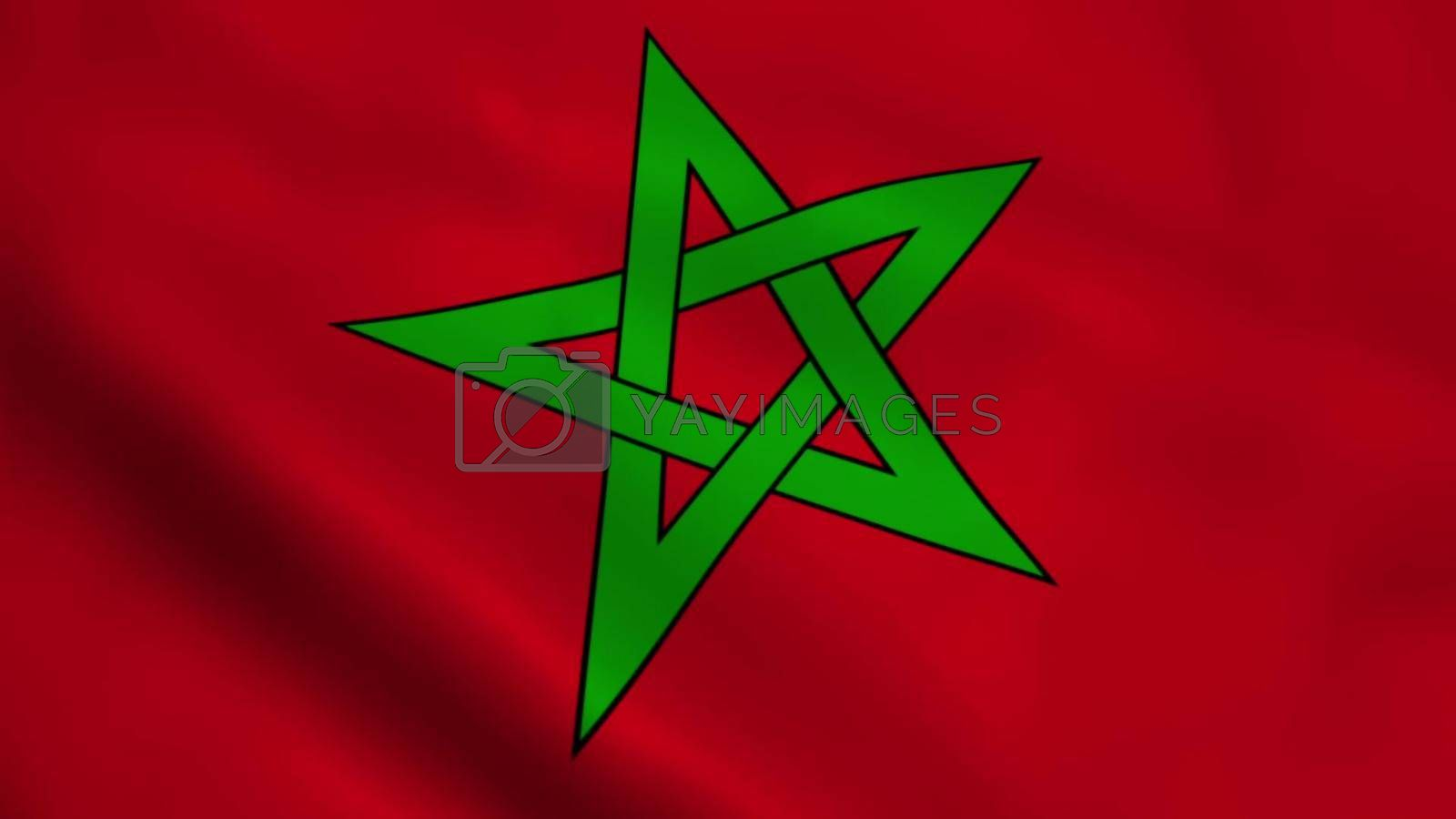 Realistic Moroccan flag waving in the wind.