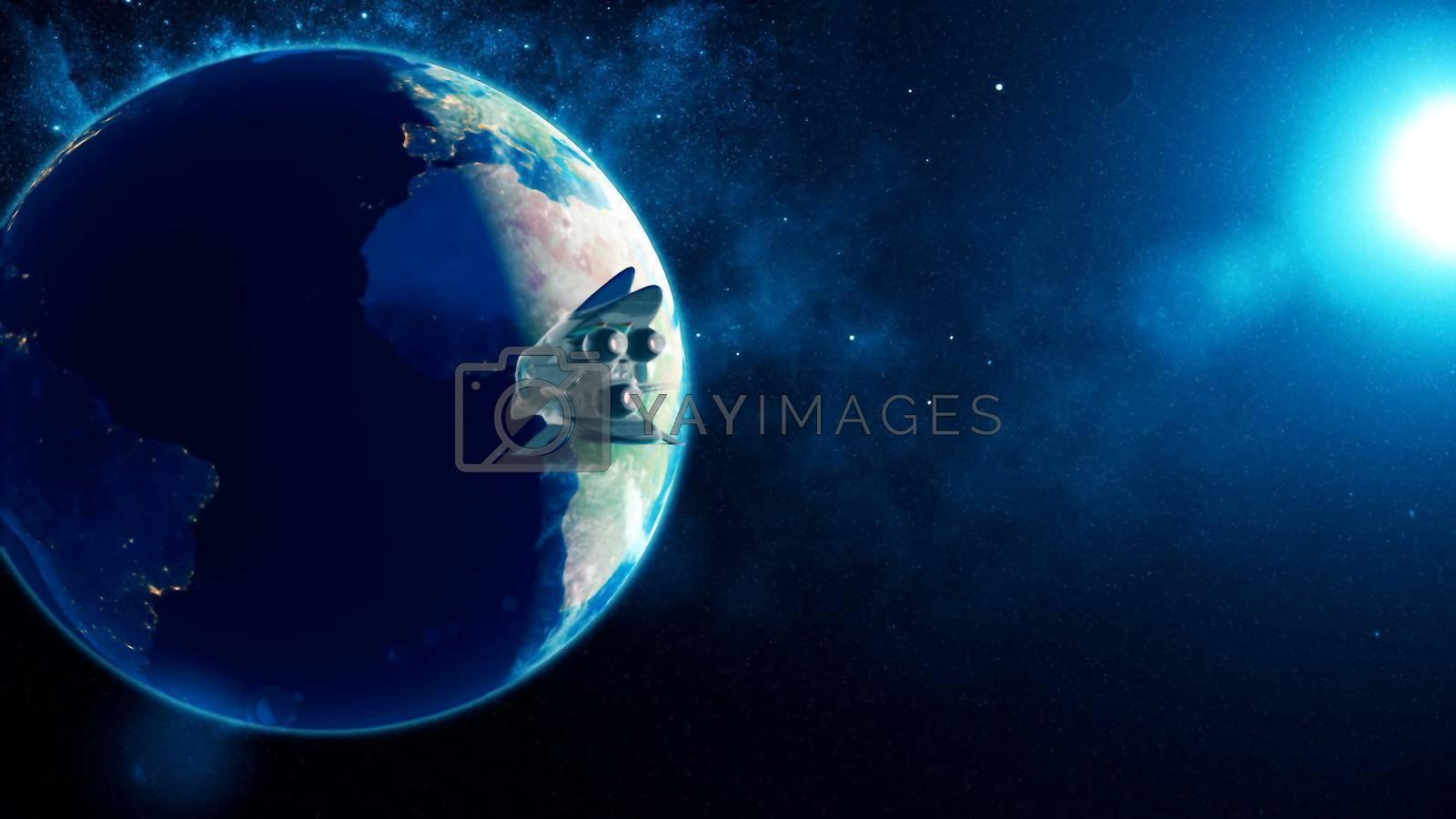 Abstract alien spacecraft flies past Earth