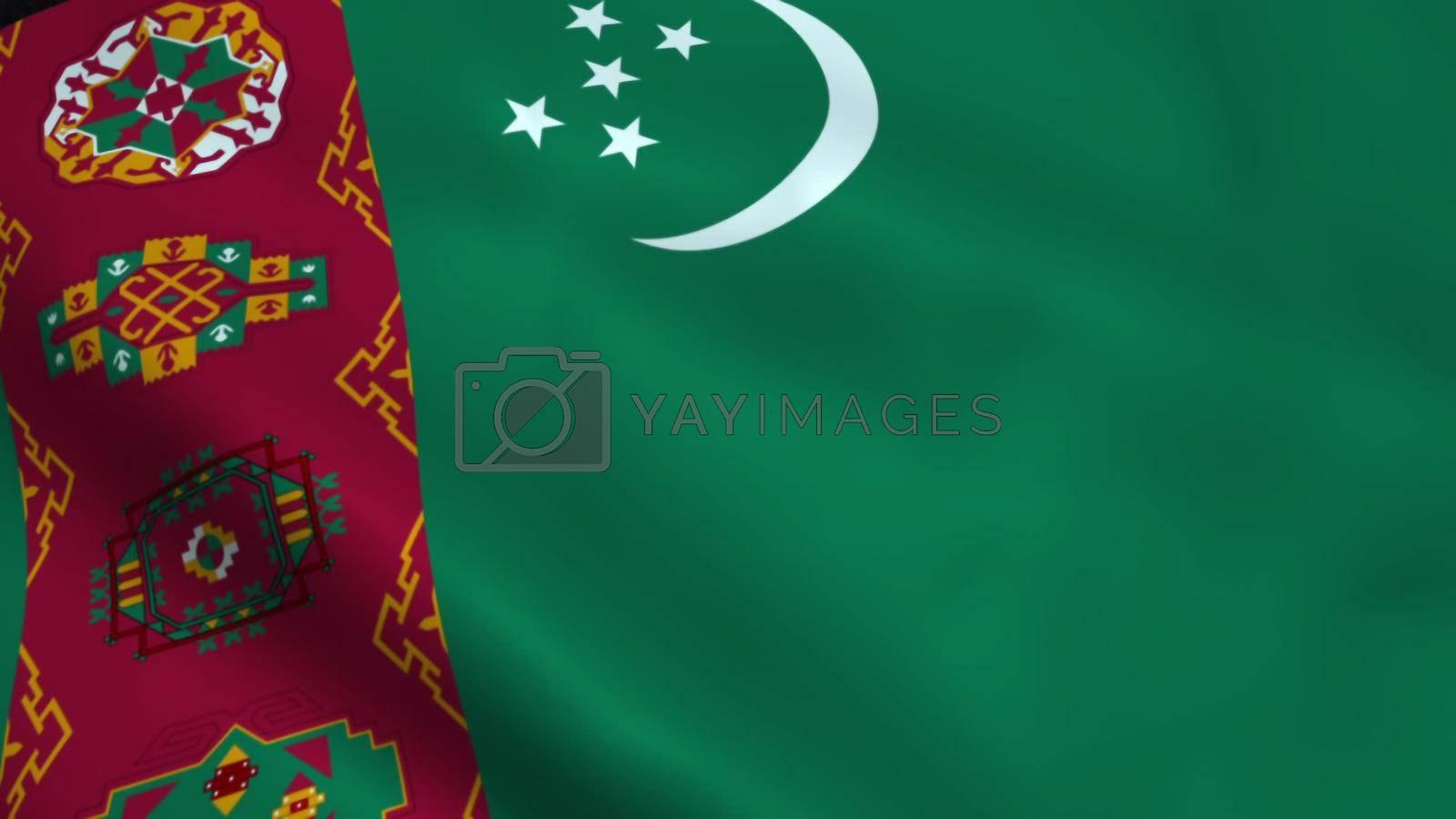 Realistic Turkmenistan flag waving in the wind.