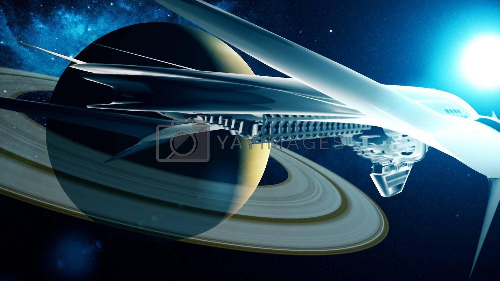 Abstract alien spacecraft flies past Saturn