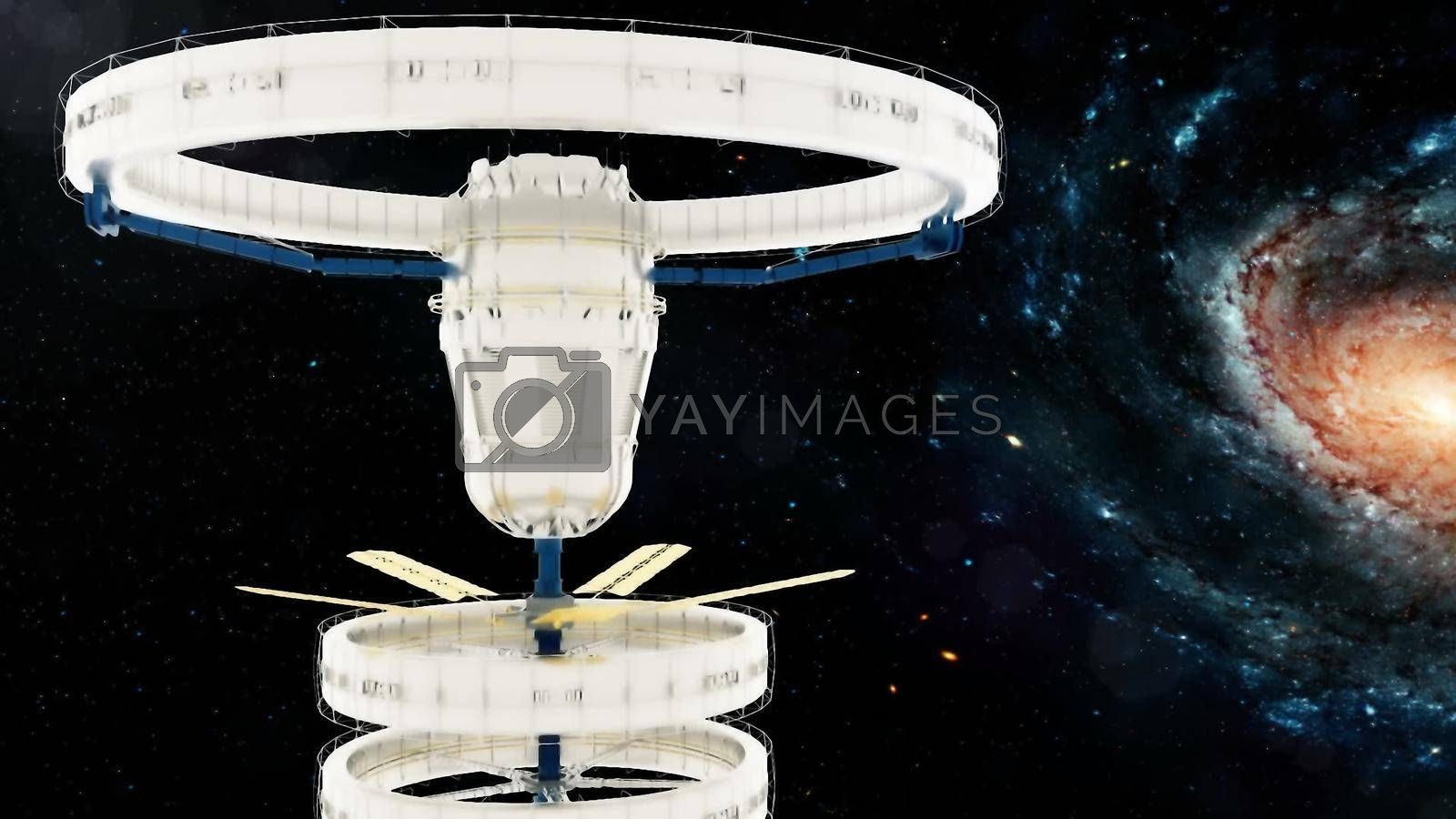 Space station flies around the Galaxy. 3d rendering