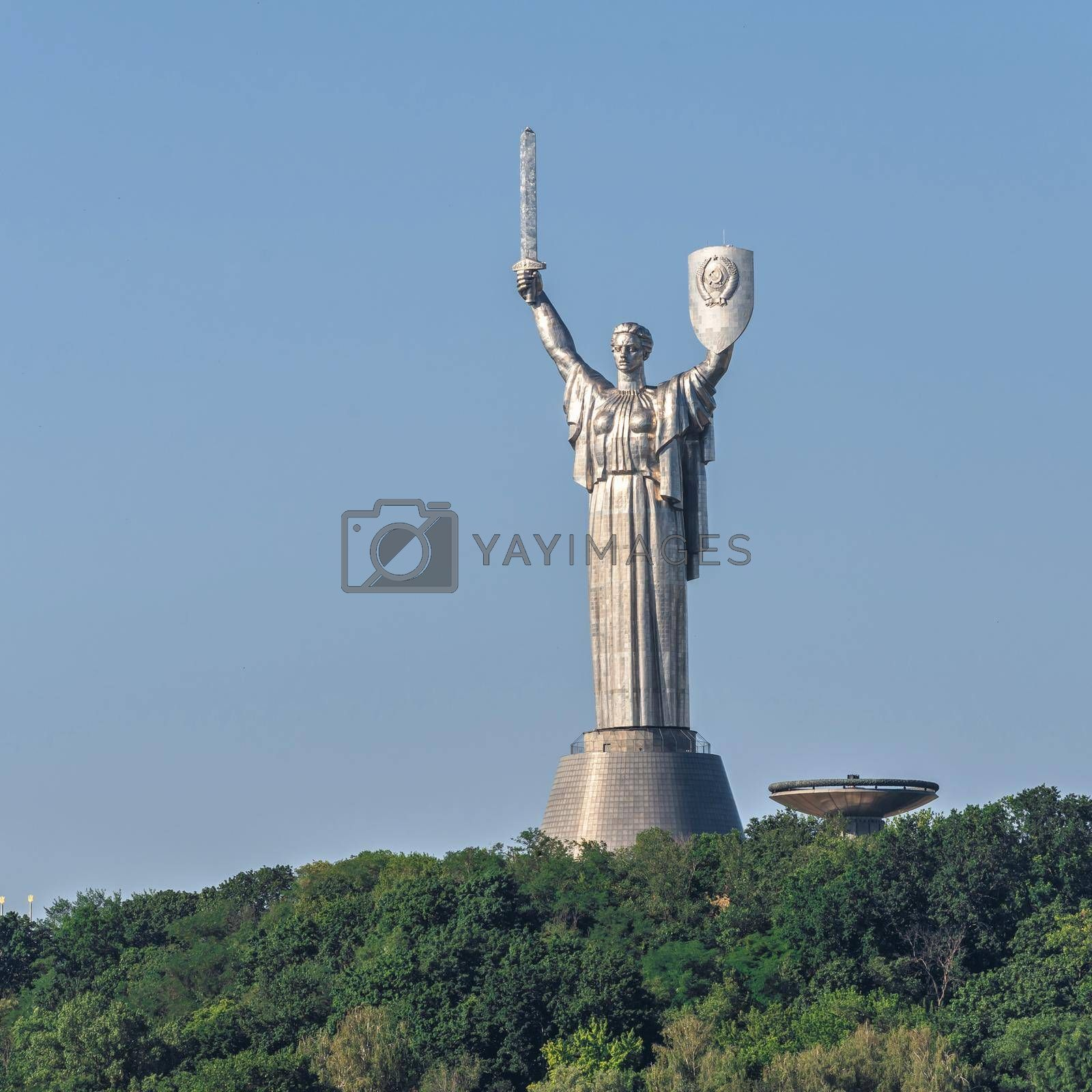 Kyiv, Ukraine 07.11.2020.  Motherland monument Memorial on the Pechersk Hills in Kyiv, Ukraine, on a sunny summer morning