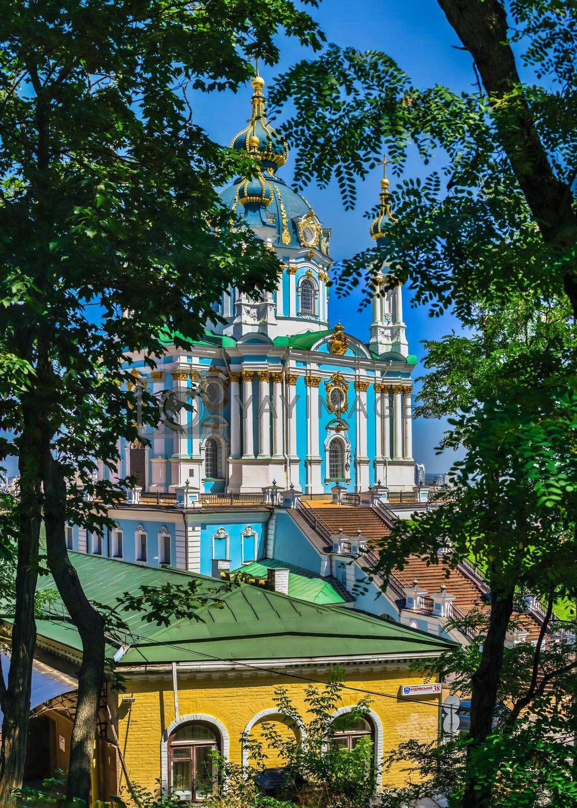 Kyiv, Ukraine 07.11.2020. The St. Andrew Church and The Andriyivskyy Descent in Kyiv, Ukraine, on a sunny summer day