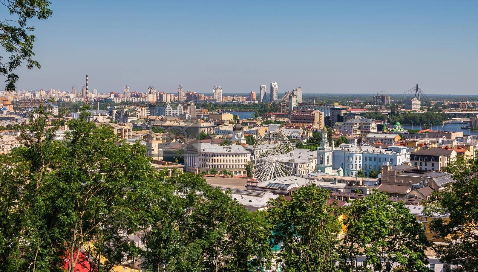 Kyiv, Ukraine 07.11.2020. Top view of Kiev from the side of the Andriyivskyy Descent, Ukraine, on a sunny summer morning