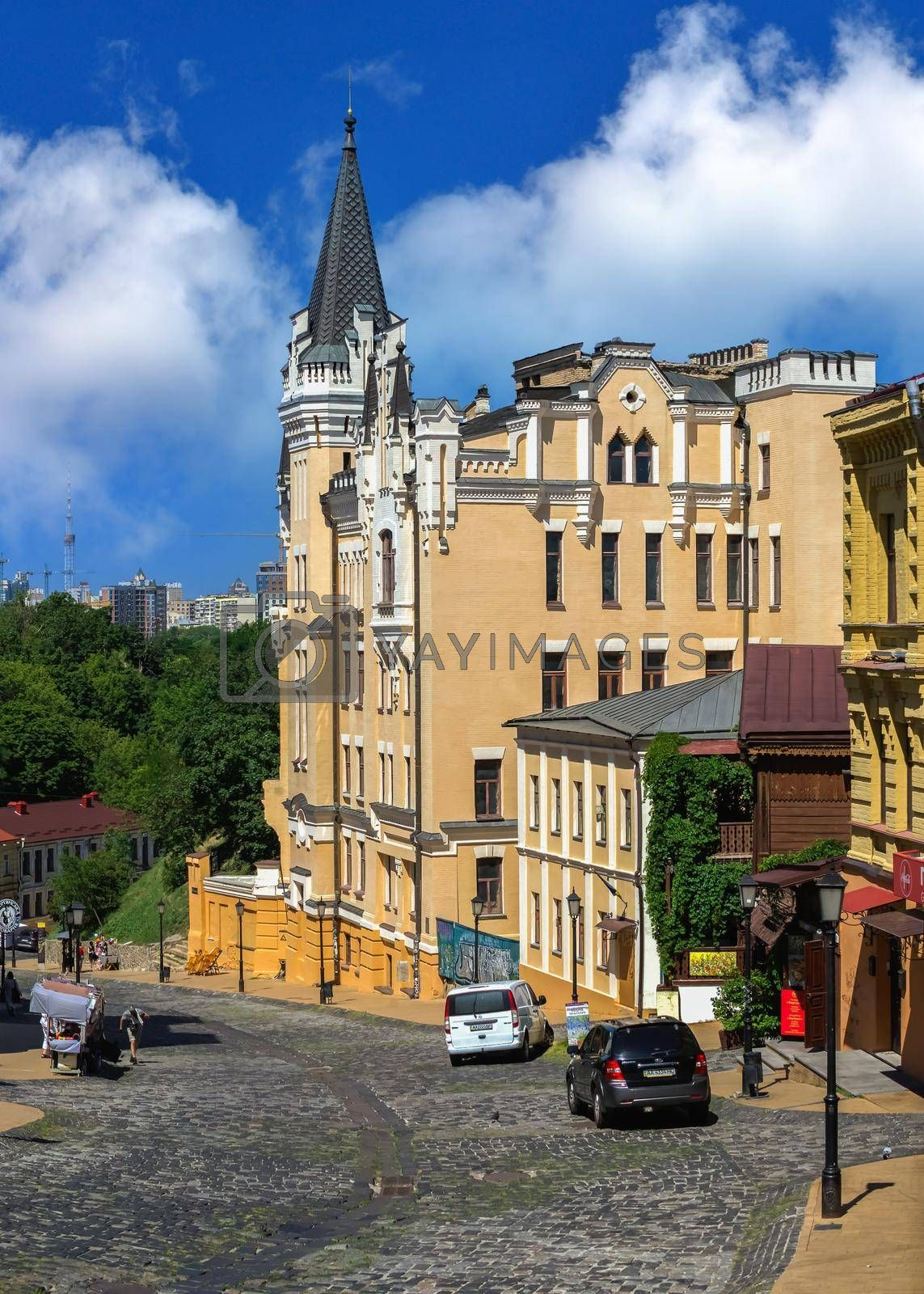 Kyiv, Ukraine 07.11.2020.  Andriyivskyy or Andrew Descent in Kyiv, Ukraine, on a sunny summer day