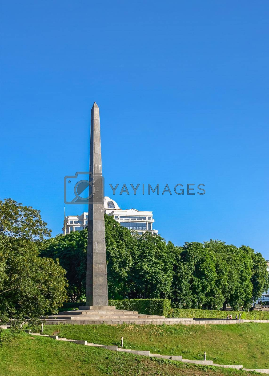 Kyiv, Ukraine 07.11.2020.  Tomb of the Unknown Soldier in the Park of Eternal Glory in Kyiv, Ukraine, on a sunny summer morning
