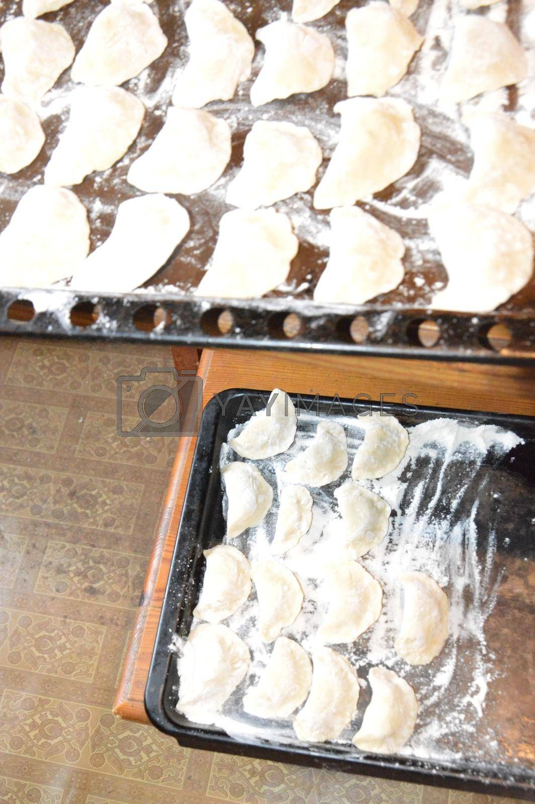 Handmade dumplings, molded by a hand