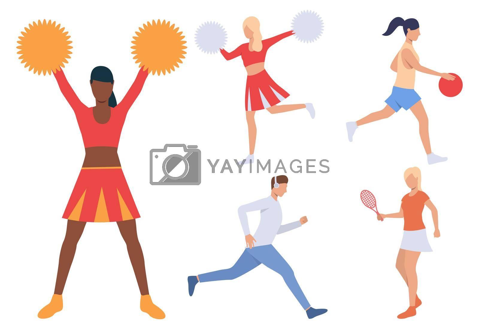 Royalty free image of Set of sporty people by mstjahanara