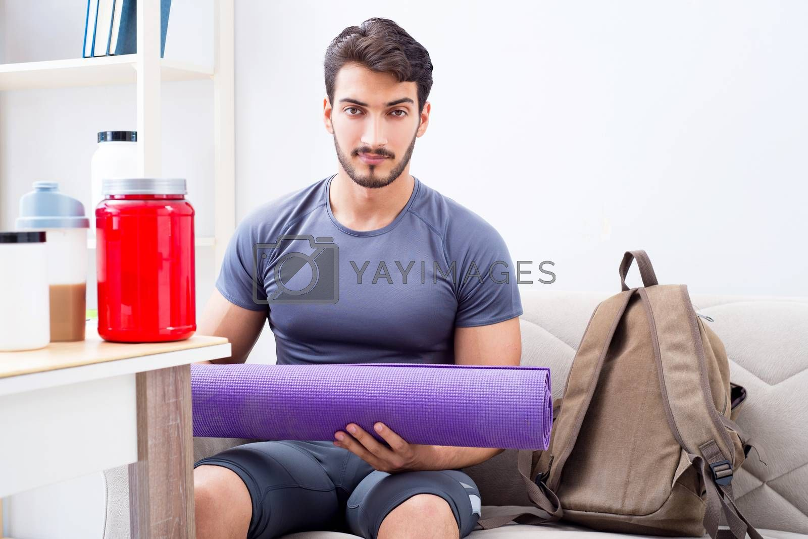 Young man getting ready for gym sports