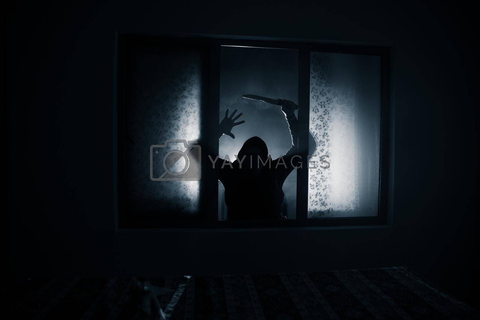 Royalty free image of Silhouette of an unknown shadow figure on a door through a closed glass door. The silhouette of a human in front of a window at night. by Zeferli