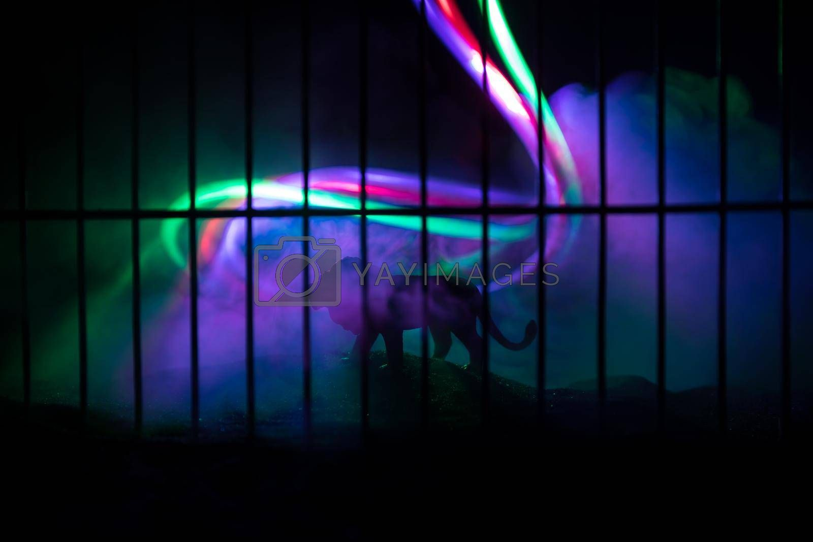 Silhouette of a lion miniature standing in a zoo cage dreams of freedom. Creative decoration with colorful backlight with fog. Selective focus