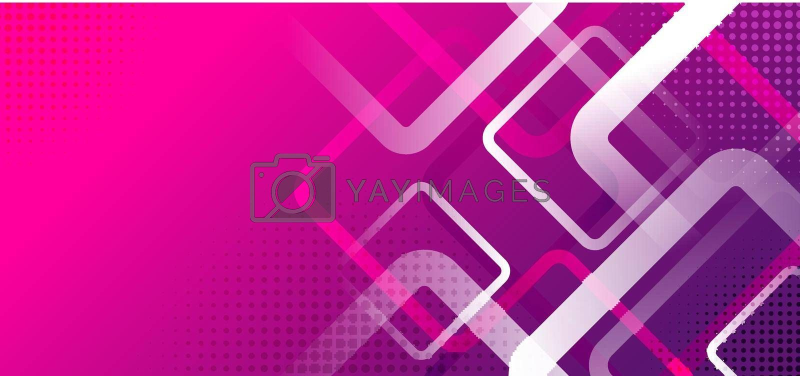 Banner web template design rounded squares geometric white on pink and purple gradient background with space for your text. Vector illustration