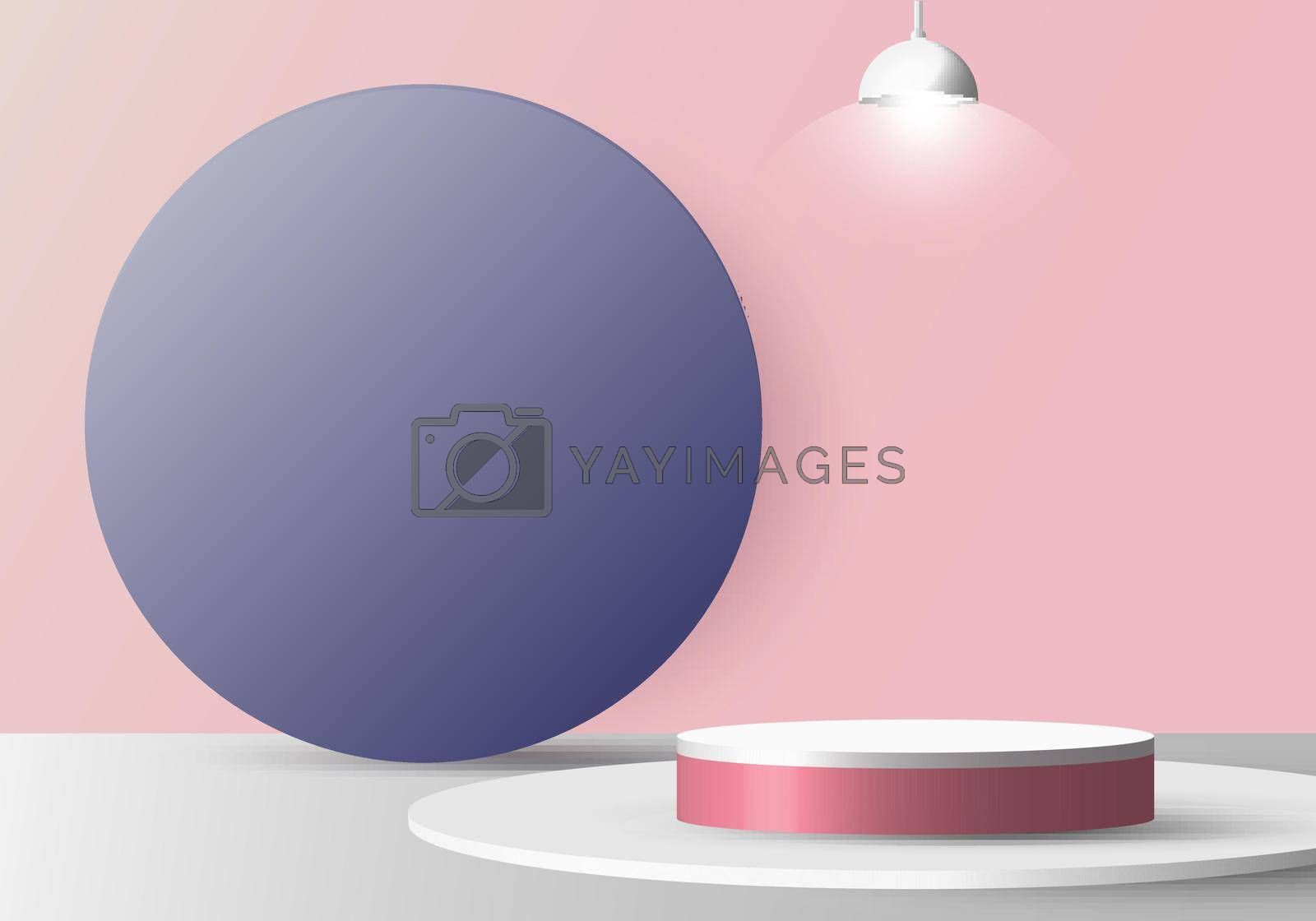 3D realistic empty white round pedestal mockup with lamp on soft pink background and blue circle backdrop. Winner podium stage for award ceremony concept. Vector illustration