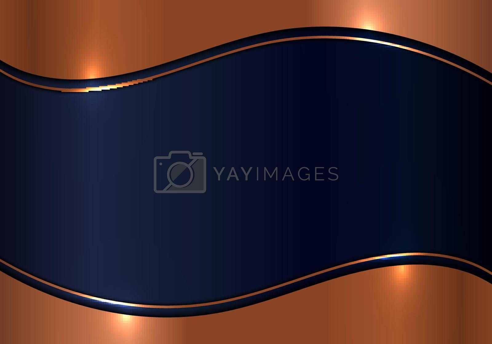 Modern template design 3D wave gold metal texture on blue shiny background luxury background. Vector illustration