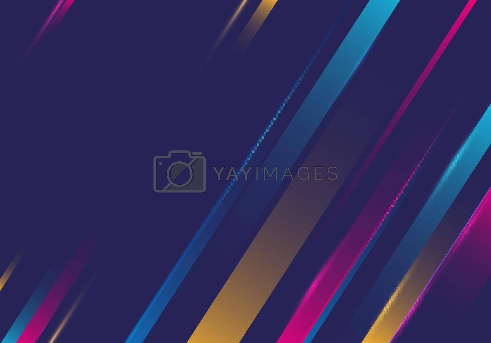 Abstract colorful diagonal stripes motion light on blue background. Vector illustration