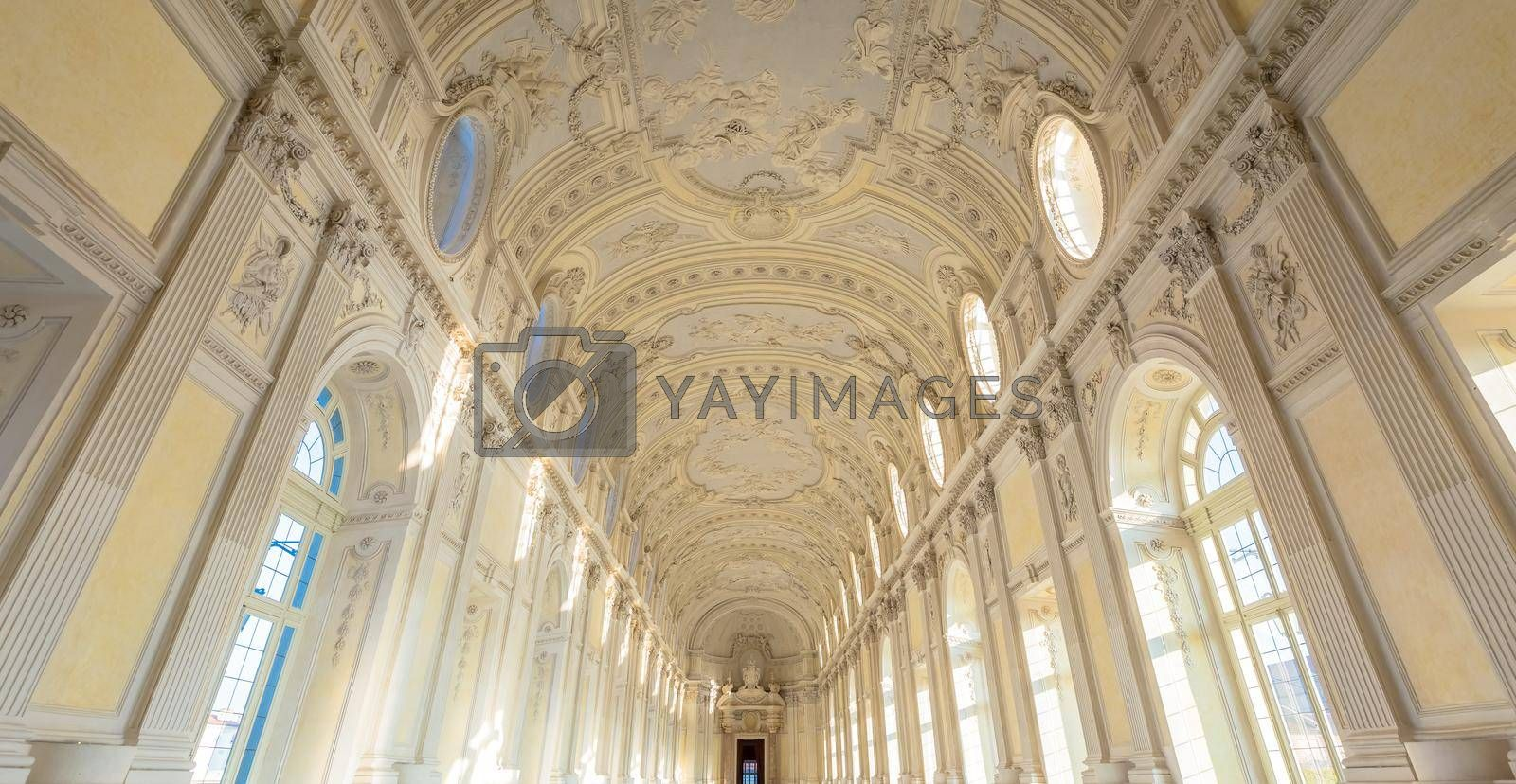 VENARIA REALE, ITALY - CIRCA SEPTEMBER 2020: luxury marble for this gallery interior. The Great Gallery is located in Reggia di Venaria Reale (Venaria Royal Palace)