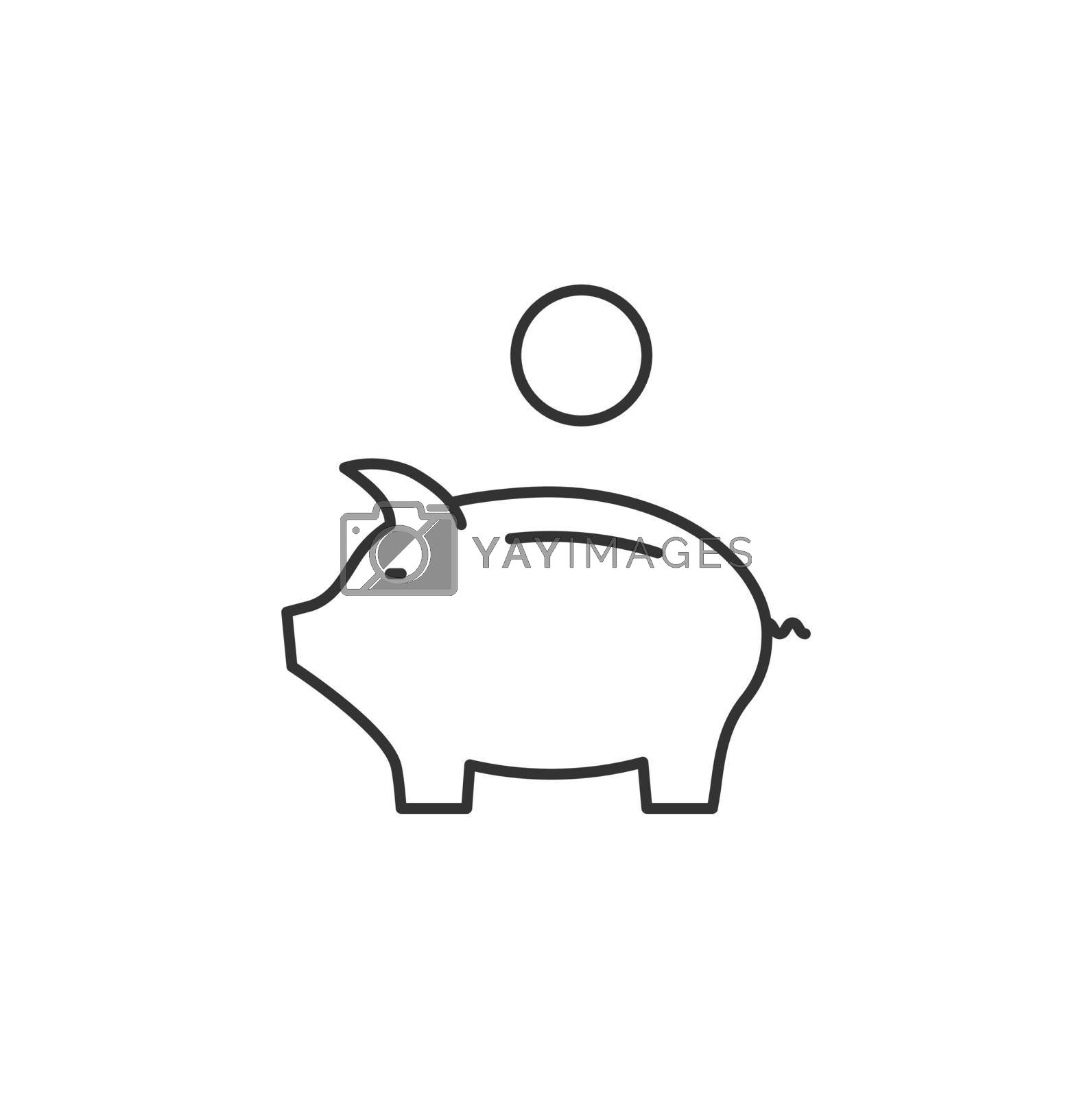 Piggy Bank Related Vector Line Icon. Sign Isolated on the White Background. Editable Stroke EPS file. Vector illustration.