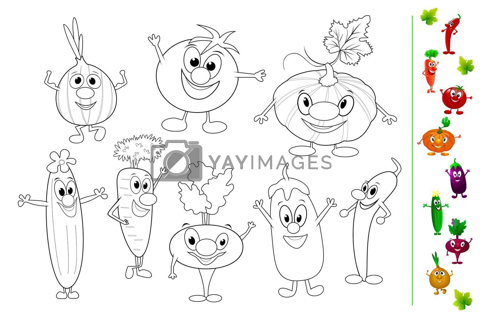 Royalty free image of Funny vegetables coloring book by liolle