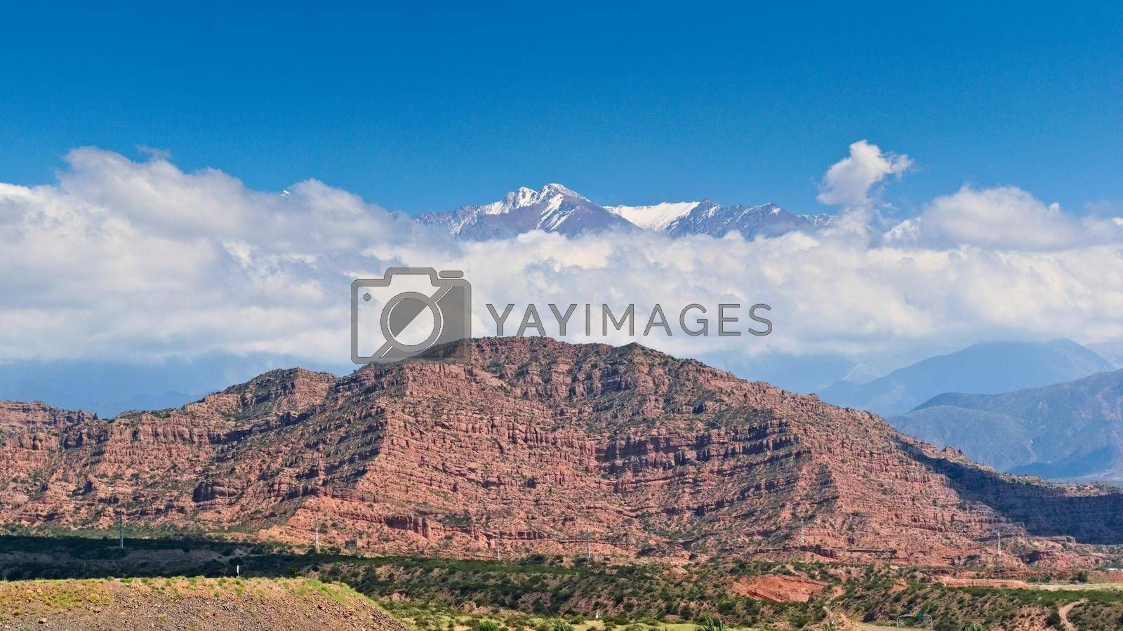 Royalty free image of Scenic view of the snow topped El Plata mountain range, in Mendoza, Argentina. by hernan_hyper