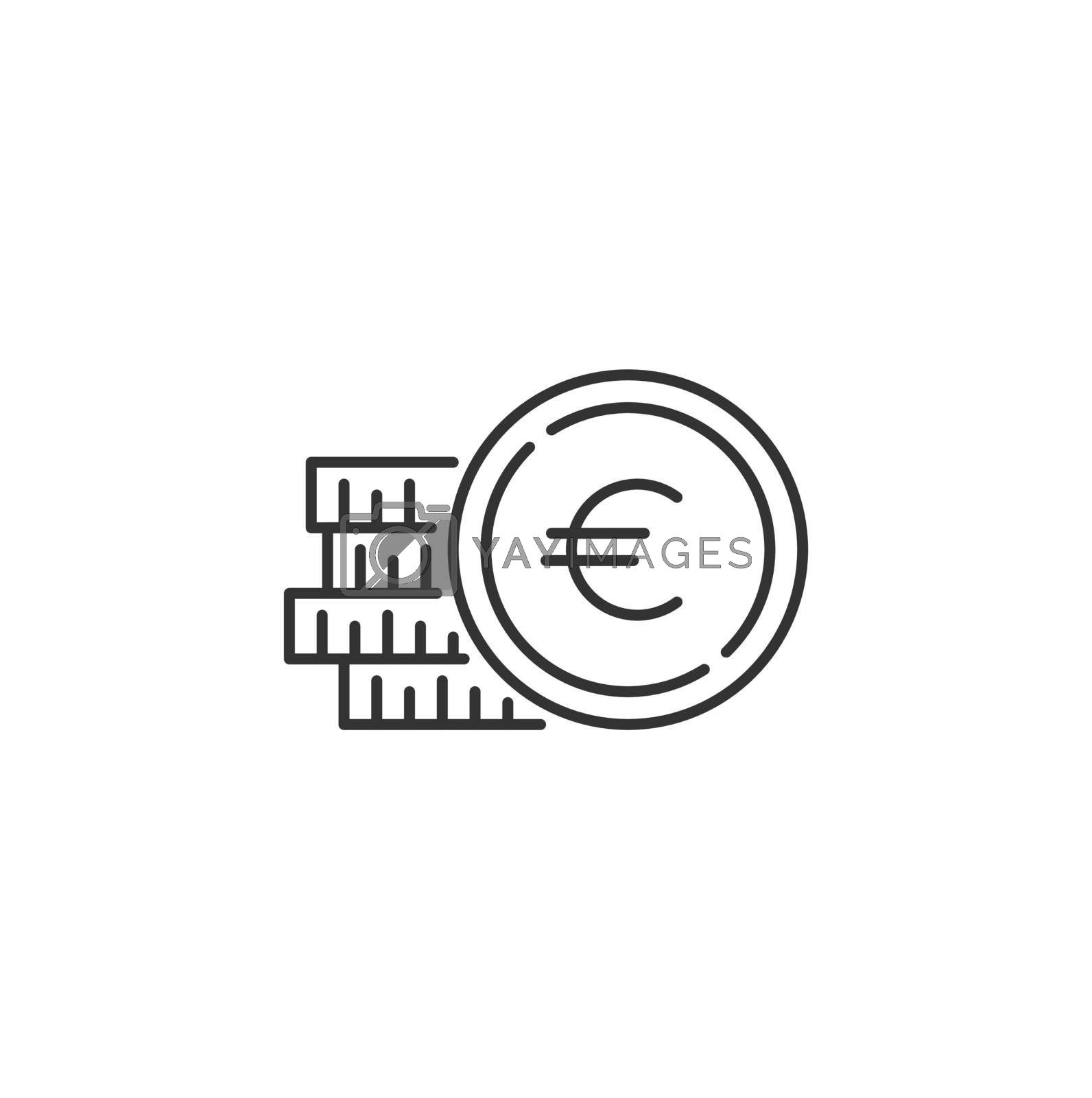 Coins Stack with Euro Related Vector Line Icon. Sign Isolated on the White Background. Editable Stroke EPS file. Vector illustration.