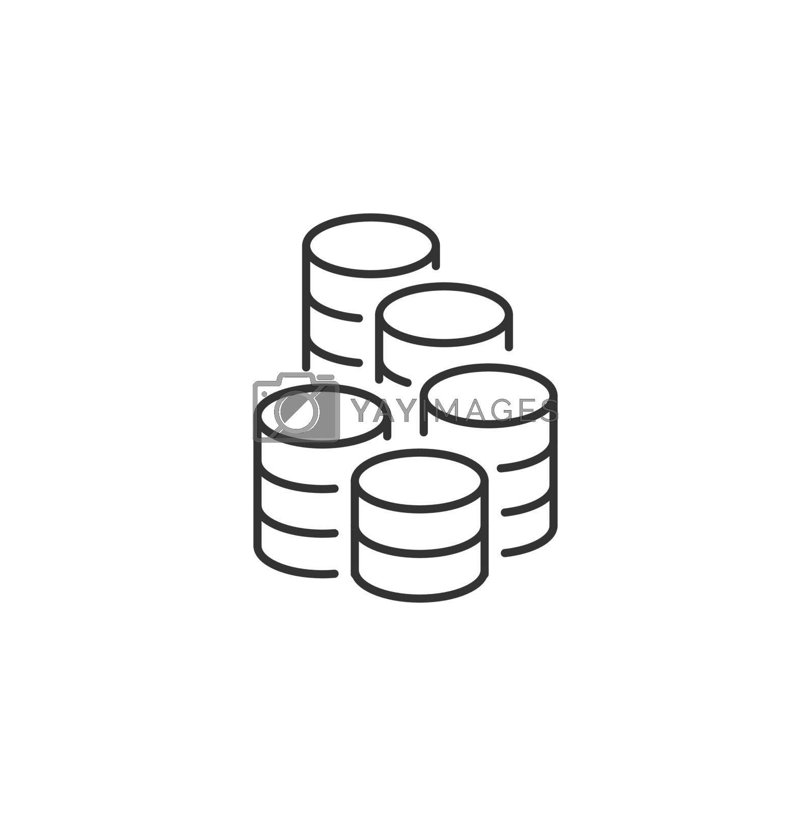 Coins Stack Related Vector Line Icon. Sign Isolated on the White Background. Editable Stroke EPS file. Vector illustration.