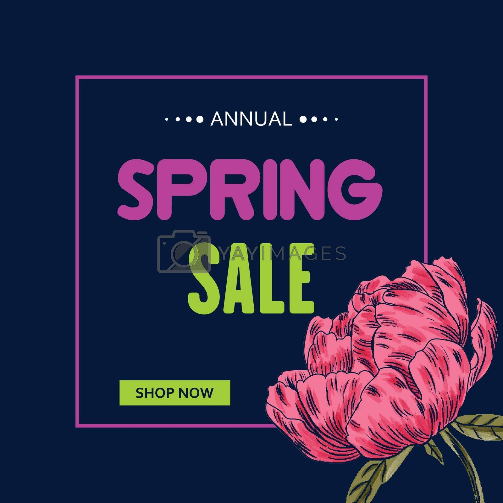 Spring Sale banner template with peony flower. Sales ad template for the web site, social media, shop, flyer and more.