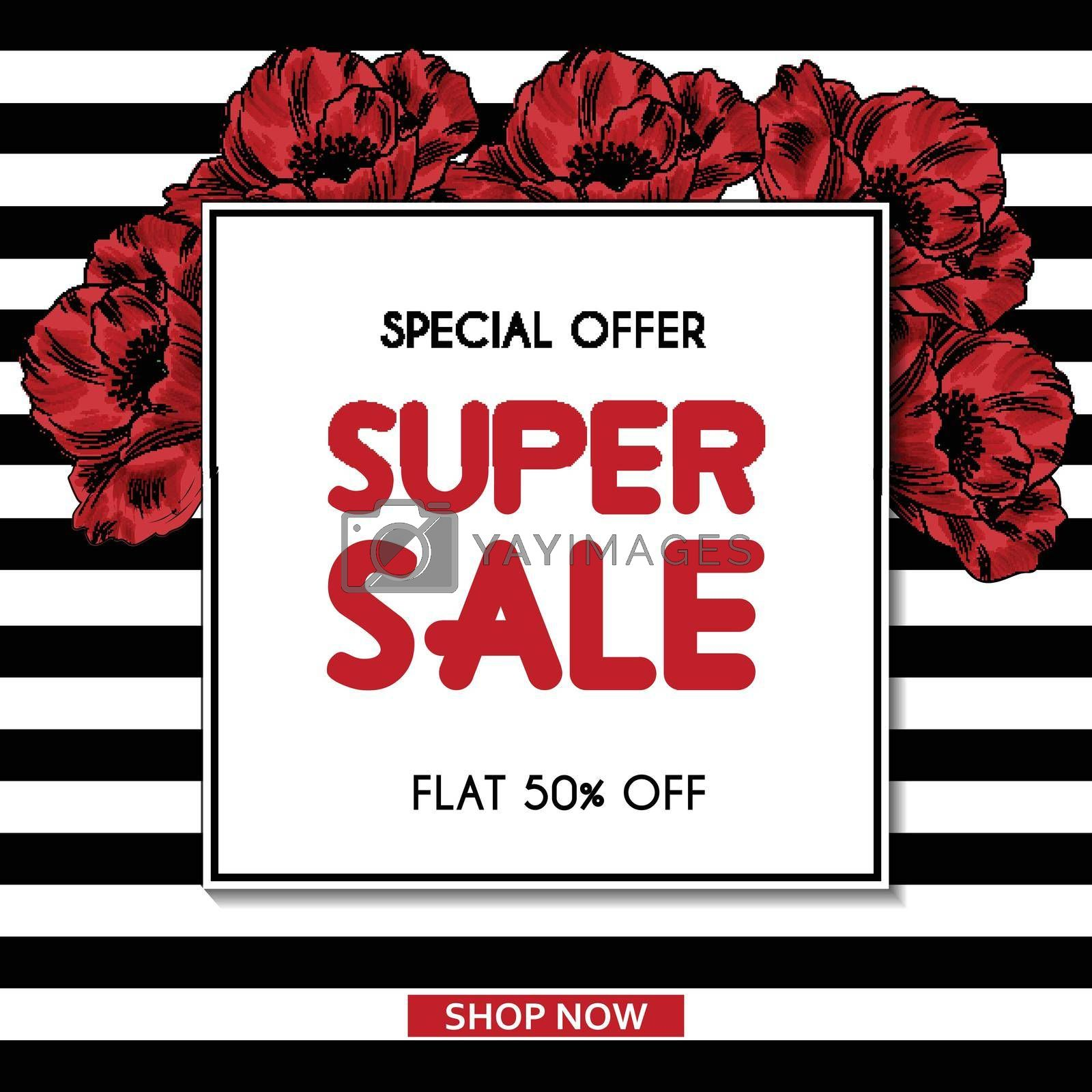 Super Sale banner template with poppies. Sales ad template for the web site, social media, shop, flyer and more.