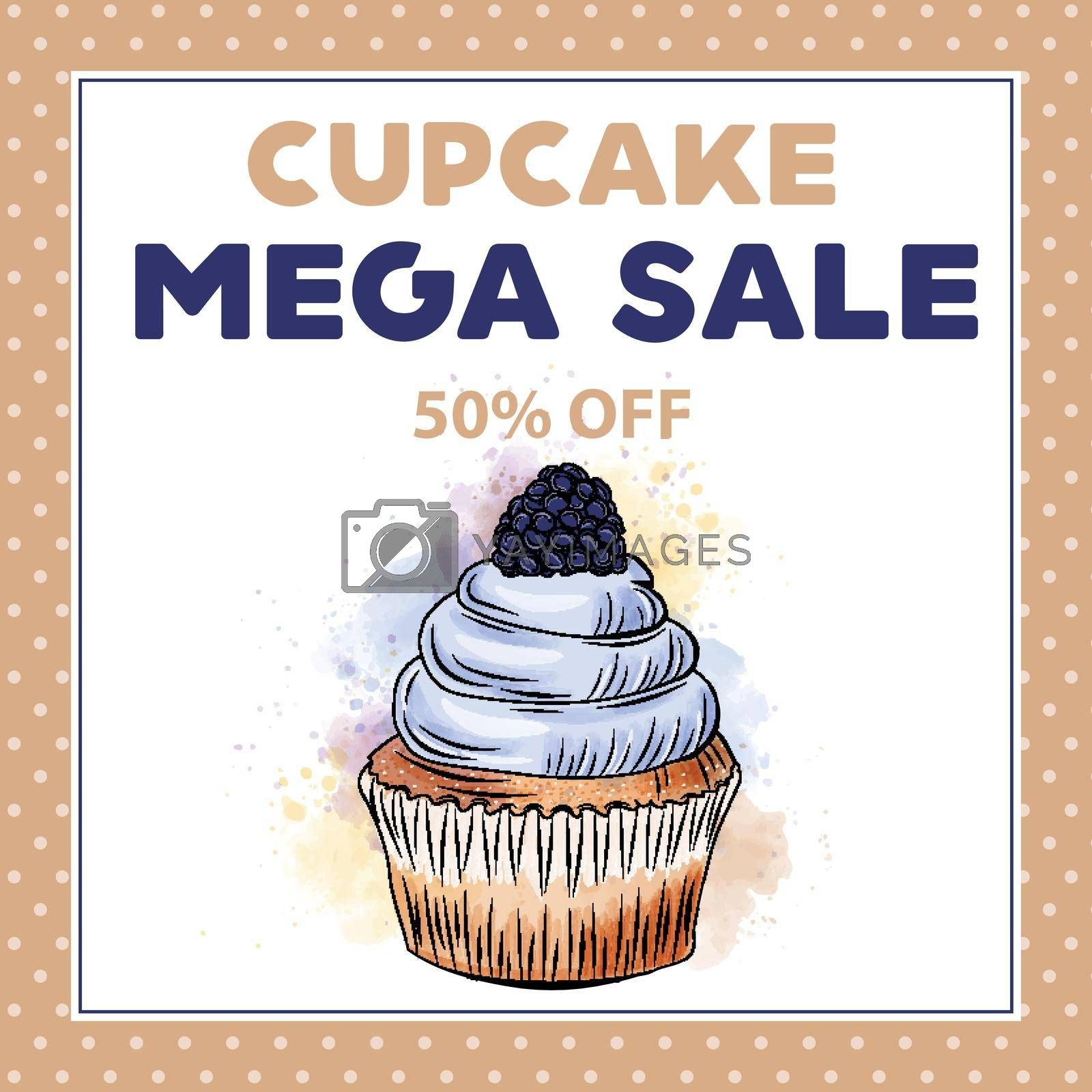 Cupcake Mega Sale banner template with cupcake. Sales ad template for the web site, social media, shop, flyer and more.