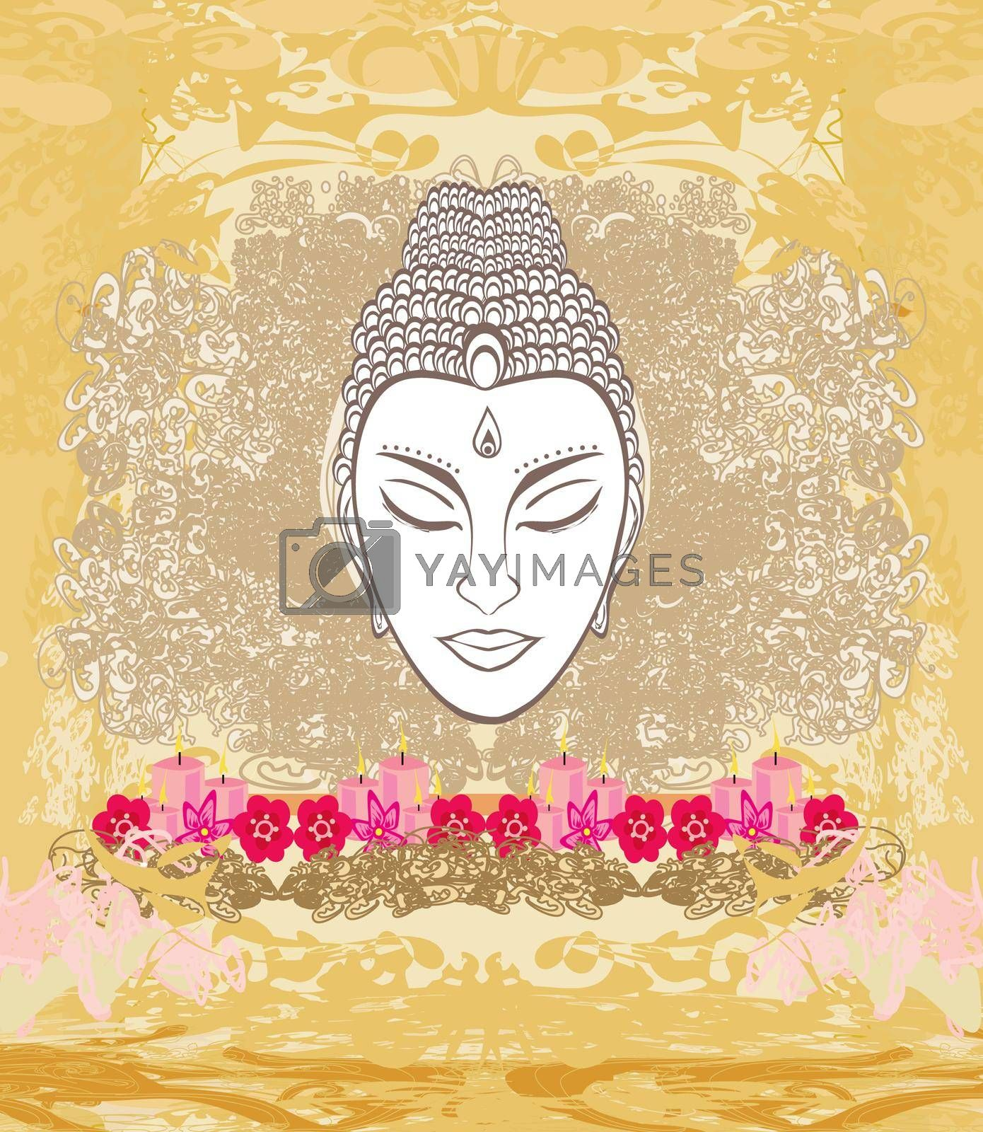 Royalty free image of decorative buddha portrait - abstract illustration by JackyBrown
