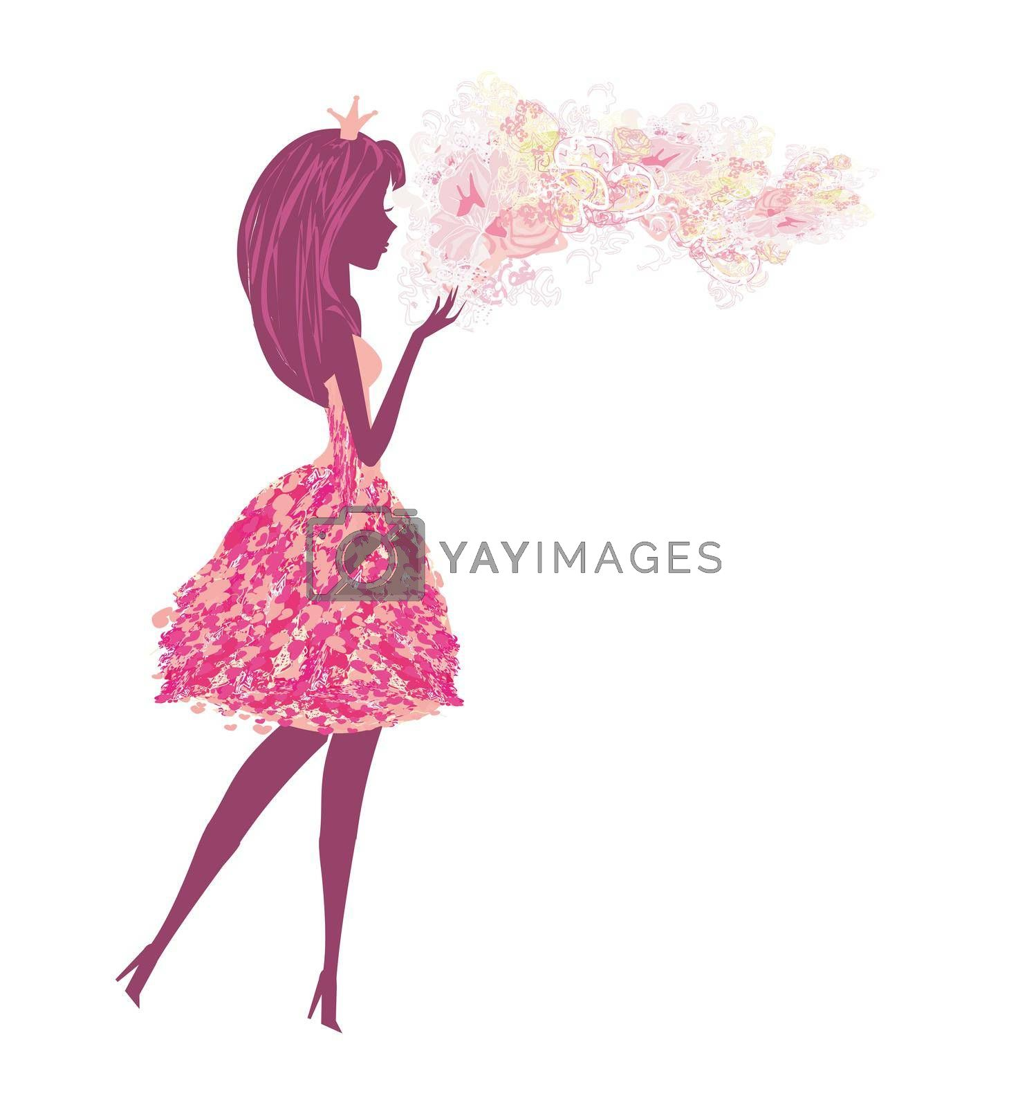 Royalty free image of isolated silhouette of a beautiful fairy by JackyBrown