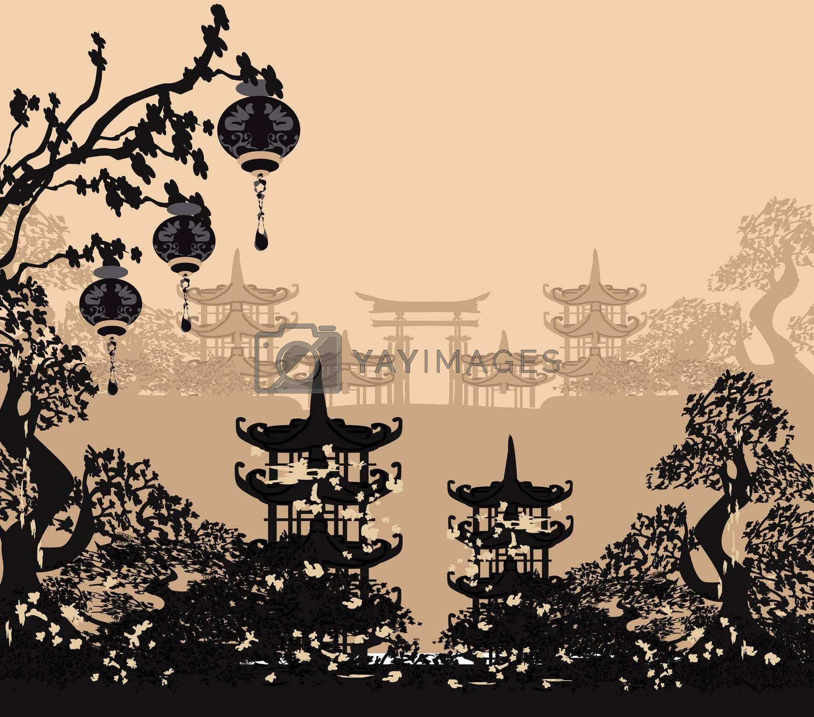 Royalty free image of Asian buildings and cherry blossoms by JackyBrown