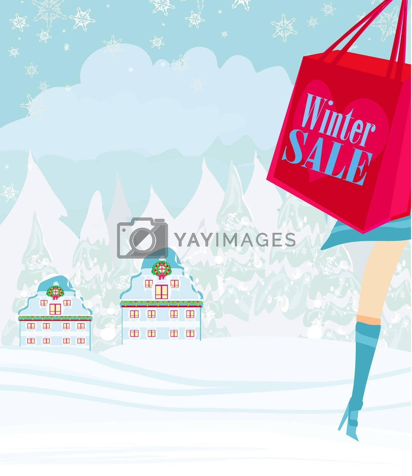 Royalty free image of Christmas shopping - winter sale card by JackyBrown