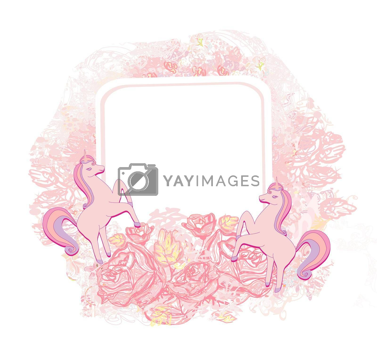 Royalty free image of decorative flower frame with beautiful unicorns by JackyBrown