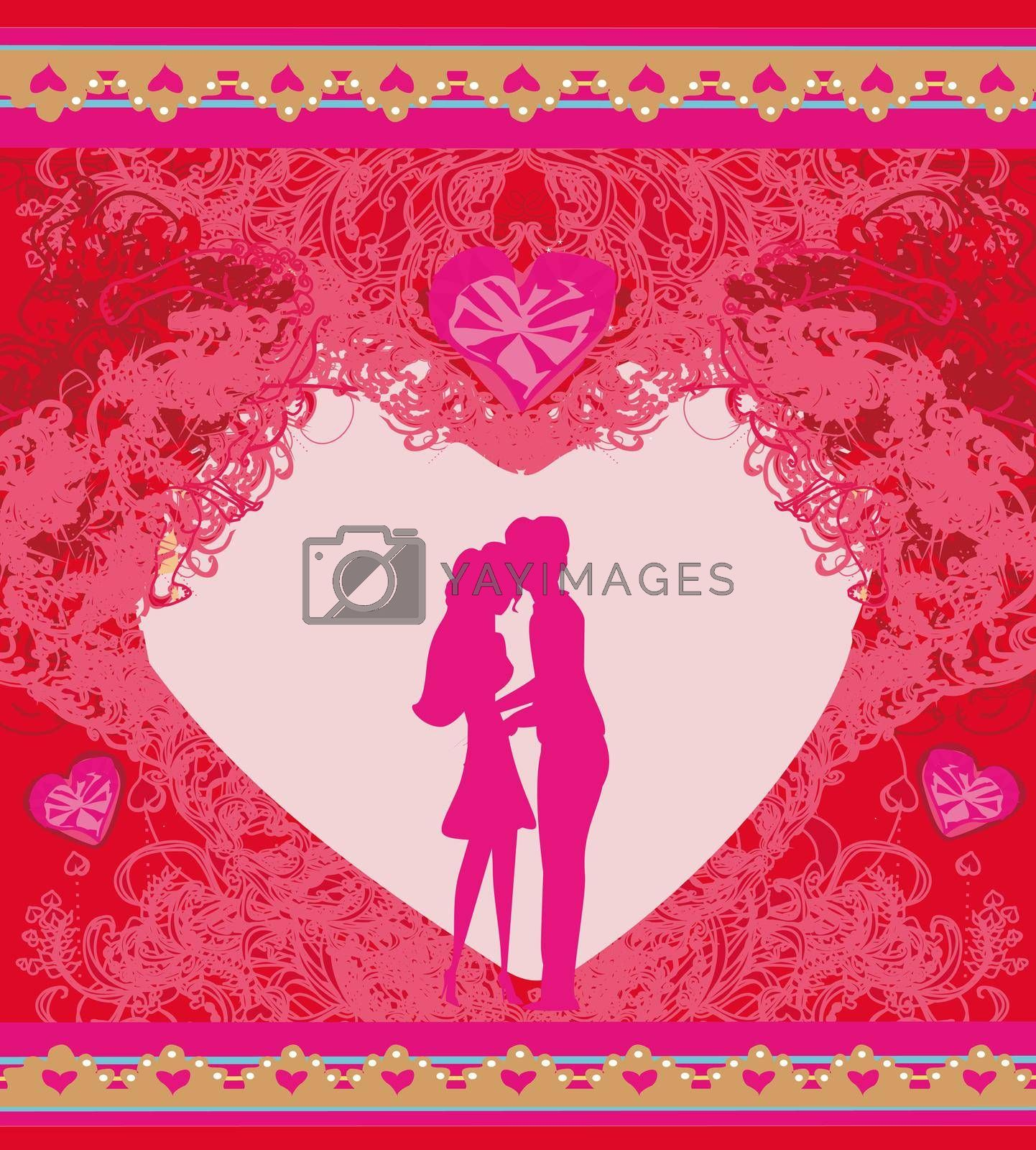 Royalty free image of Happy valentines day card - hugging couple on the background of the heart by JackyBrown