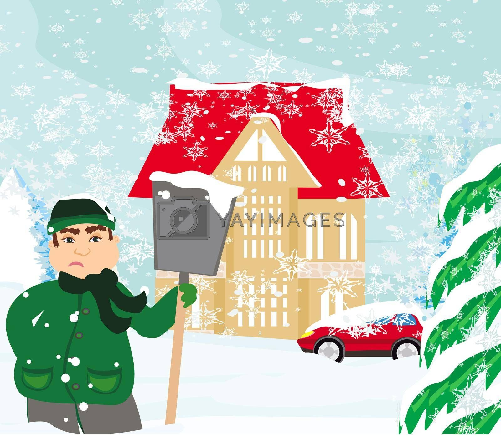 Royalty free image of sad man is shoveling snow in front of his house by JackyBrown