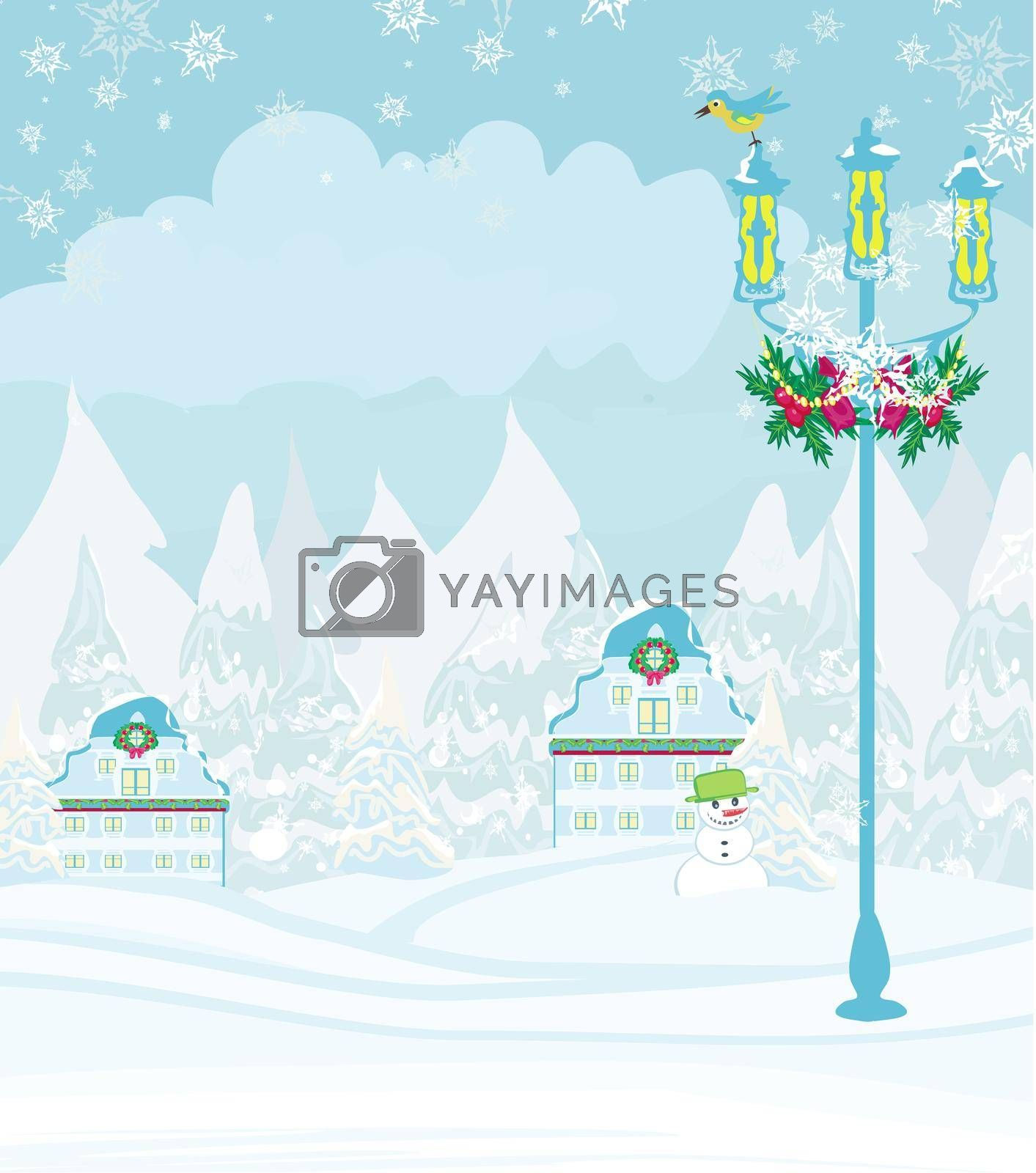Royalty free image of winter city landscape - illustration with bird, houses and snow by JackyBrown