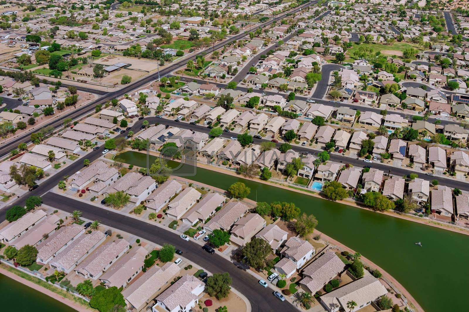 Many small ponds near Avondale small town a view overlooking desert near on of state capital Phoenix Arizona USA