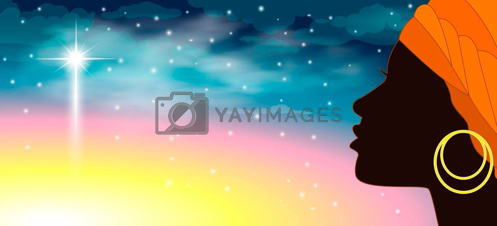 Royalty free image of Silhouette woman sky star by liolle