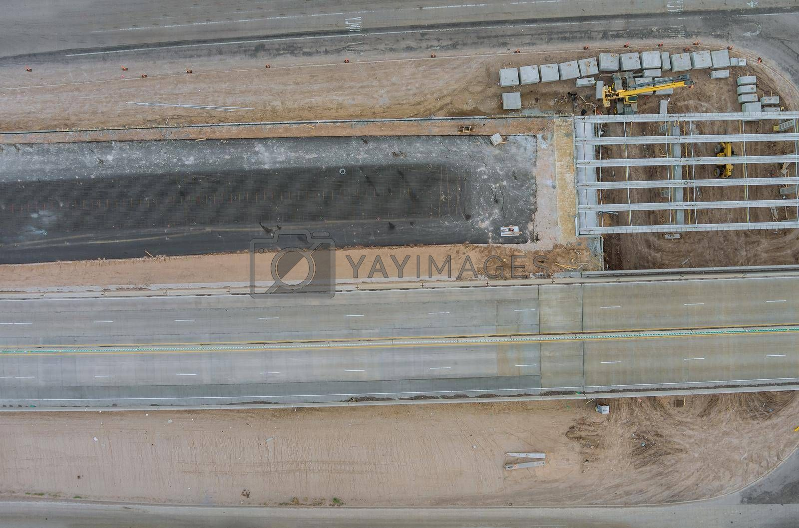 Renovation bridge construction site on reconstruction of the bridge of a modern road interchange in US