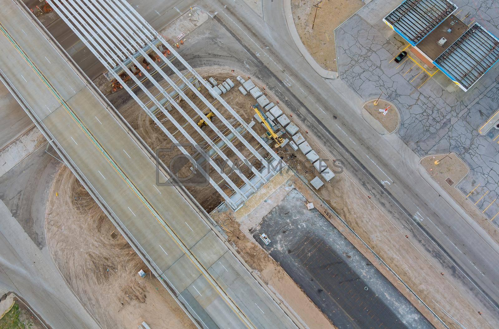 Under renovation road repair bridge reconstruction on USA highway