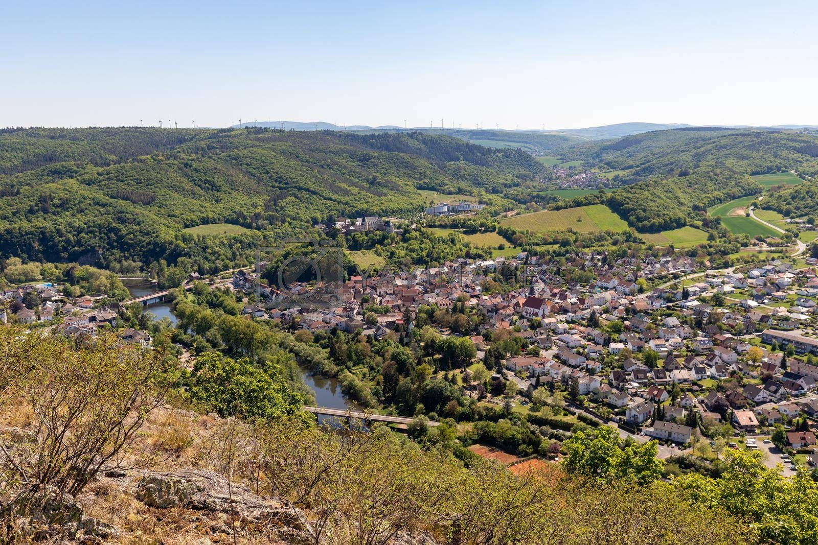 Royalty free image of High angle view from the Rotenfels of Bad Muenster am Stein Ebernburg by reinerc