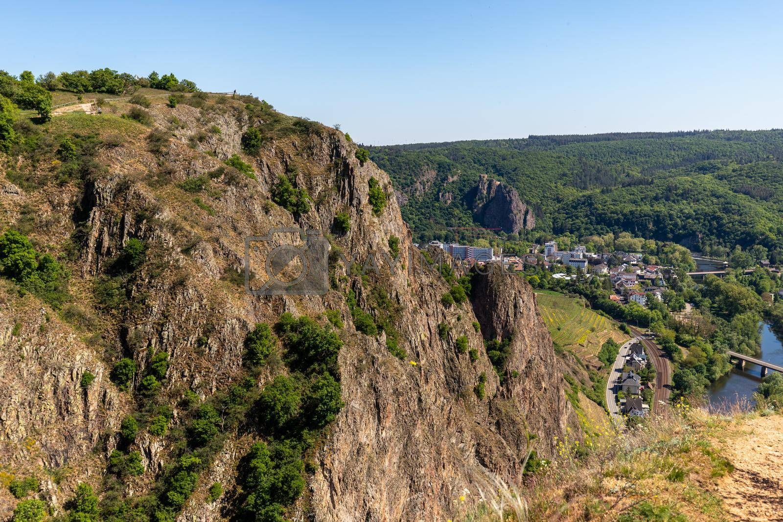 High angle view from the Rotenfels of Bad Muenster am Stein Ebernburg by reinerc