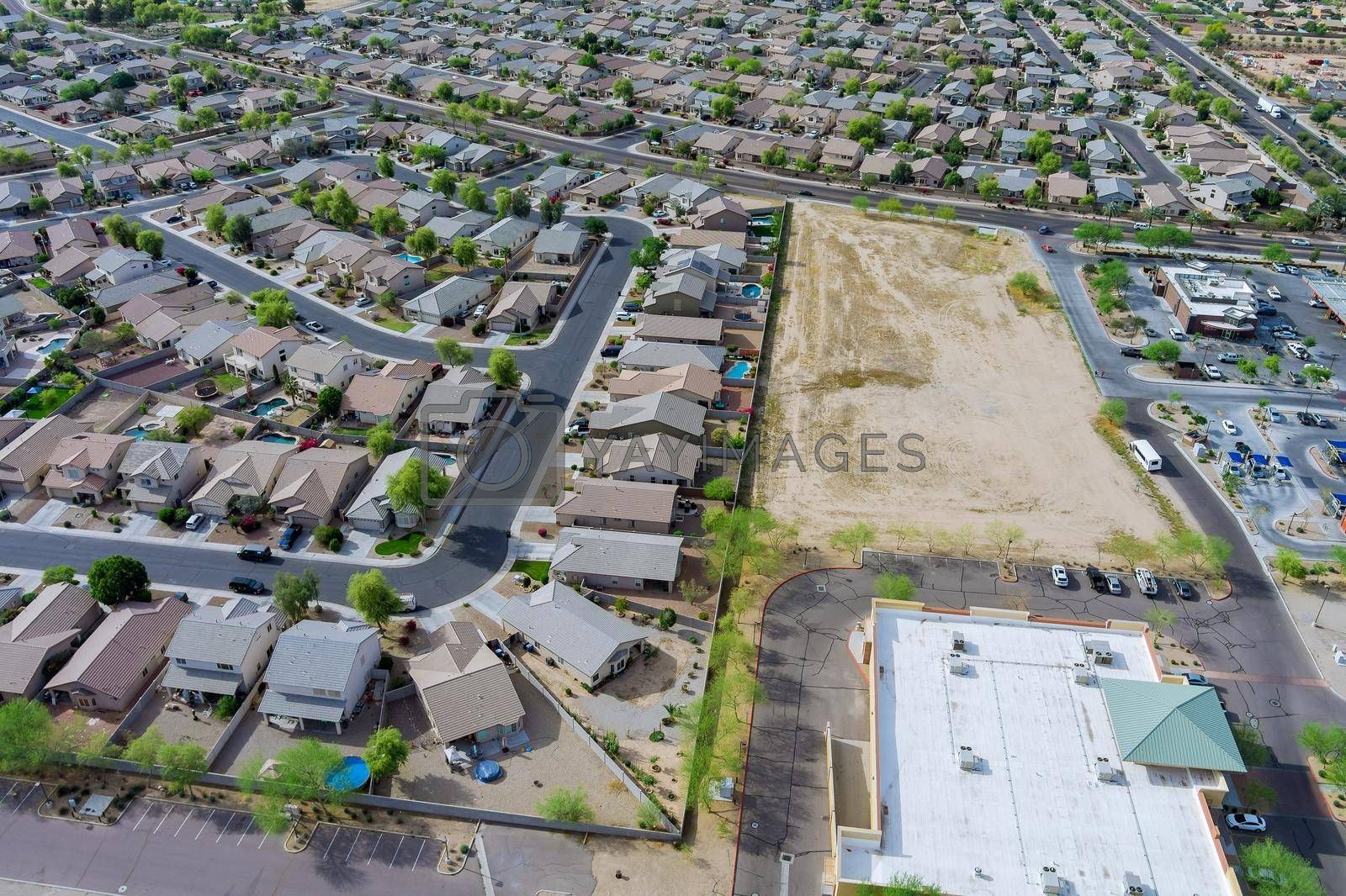 Aerial view of residential quarters at beautiful town urban landscape the Phoenix Arizona USA