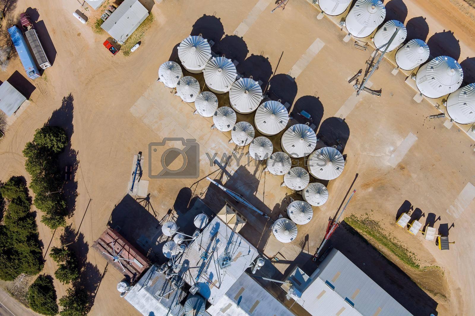 Grain elevator terminal spout loading grain corn silos, storage containers drying grain complex