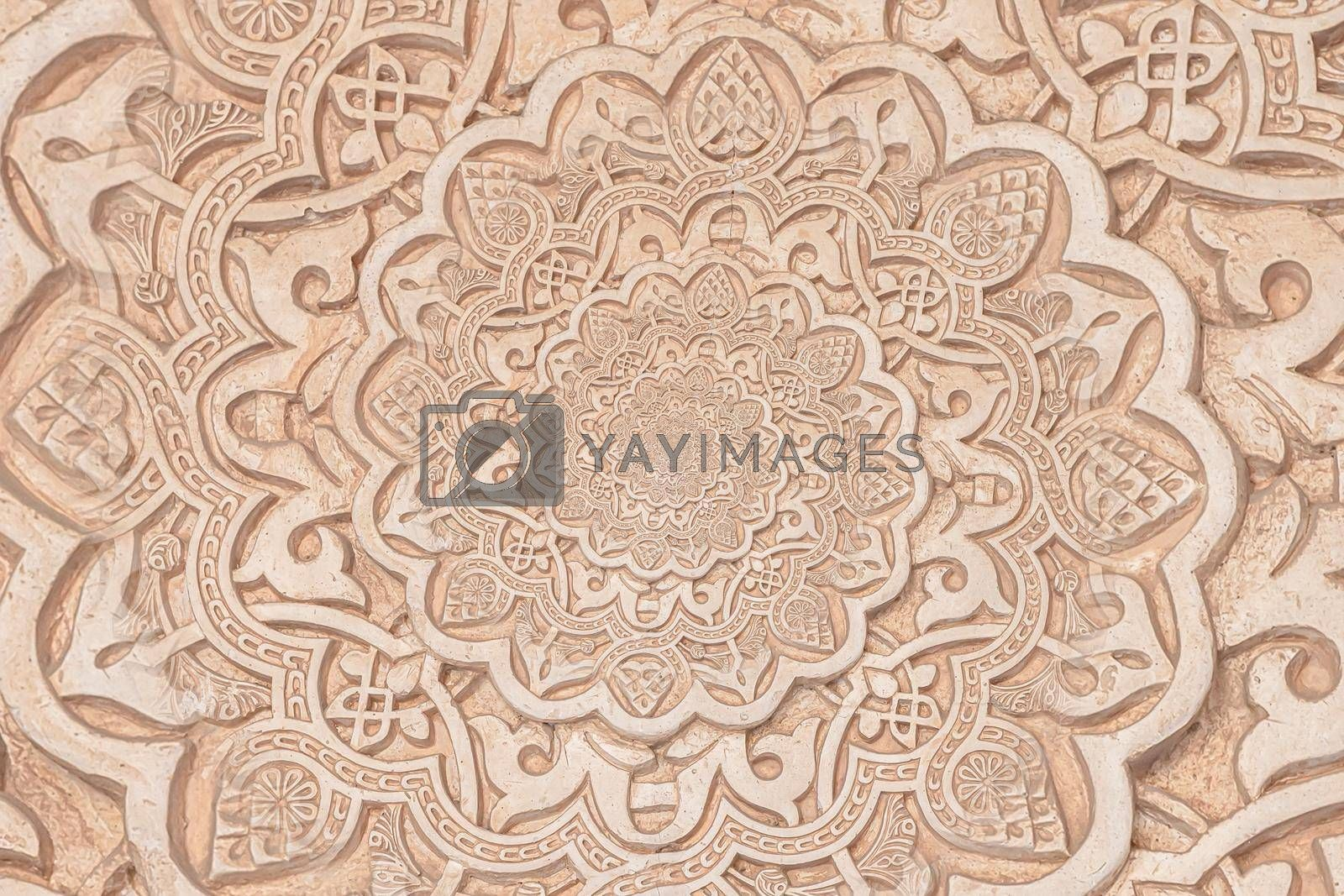 Arab background remanding to Islam culture. Design created from a 13th century architectural detail using droste effect.