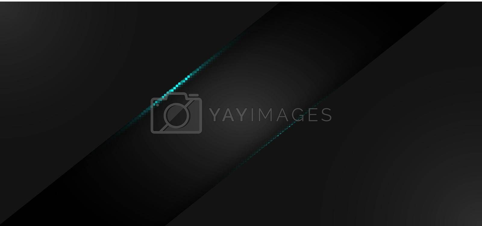Abstract modern background black metallic frame with blue color light. Vector illustration