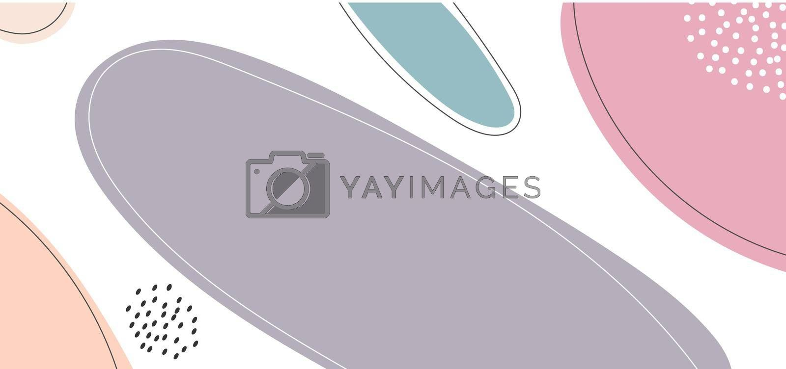 Abstract hand drawn organic shapes composition beautiful pastel color on white background minimal style. You can use for banner web template, social media post, presentation, etc. Vector illustration