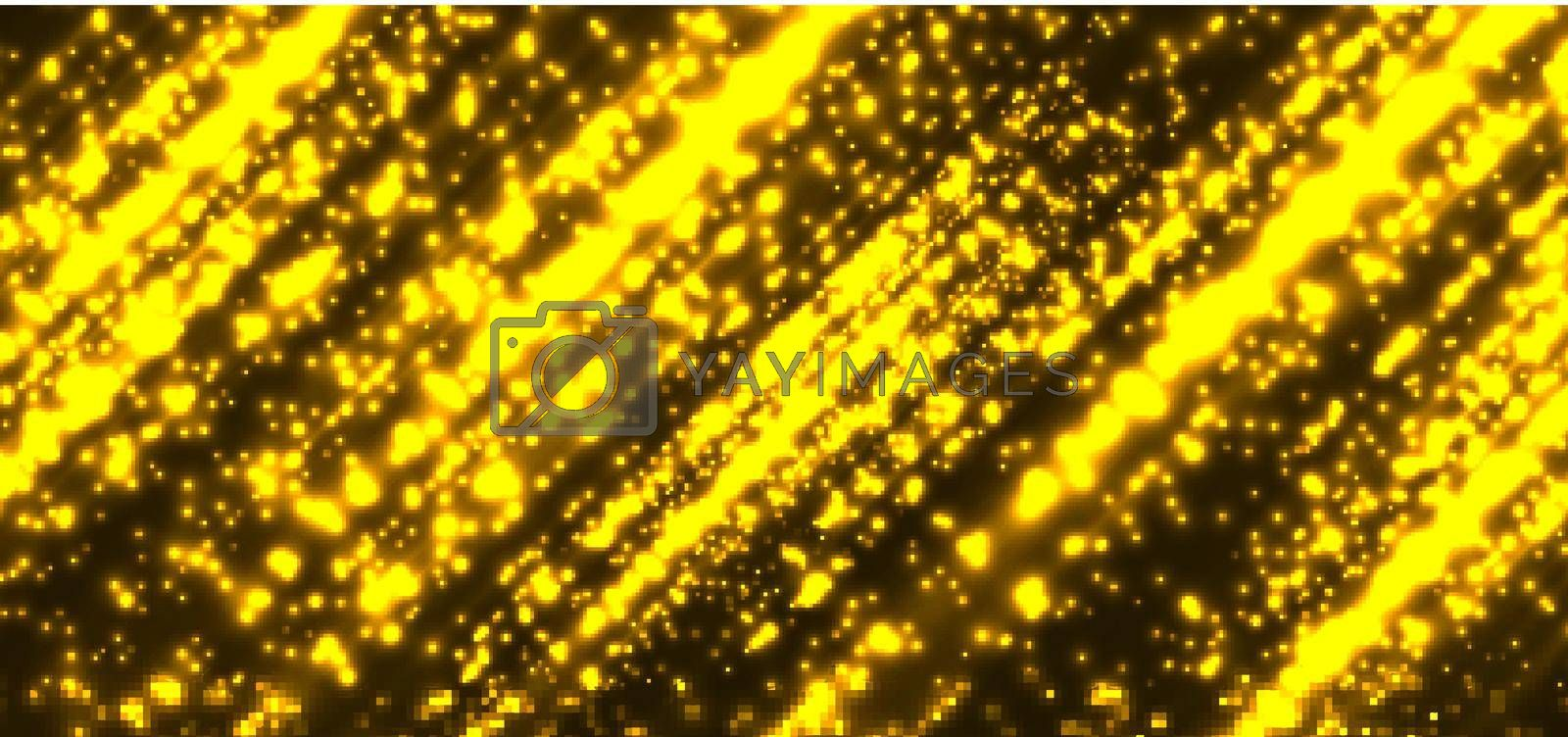 Abstract technology futuristic yellow magic particles lines light sparkling glitter on dark background. Vector illustration
